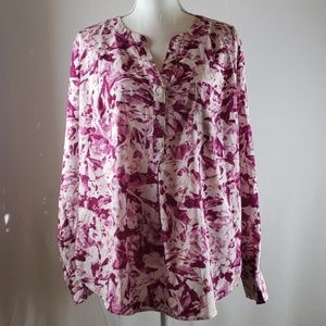 Pink fuschia floral blouse 1x pure energy